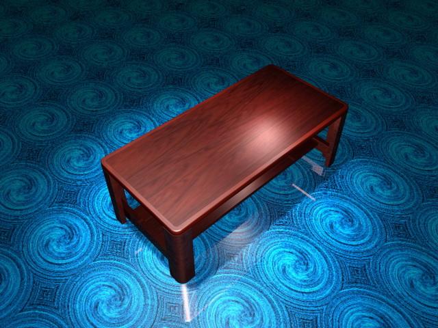 Solid wood coffee table 3d rendering
