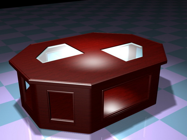 Octagon coffee table 3d rendering