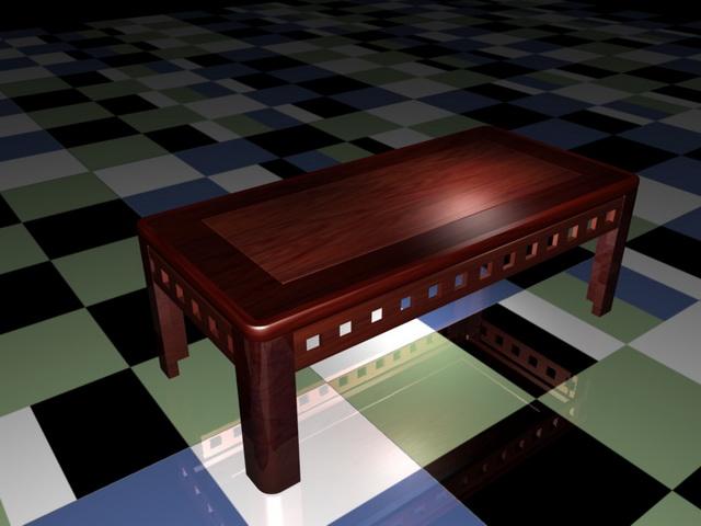 Redwood coffee table 3d rendering