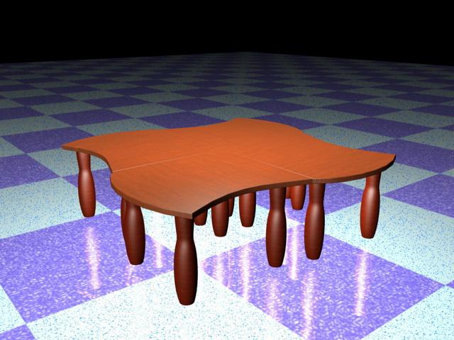Modular coffee table 3d rendering