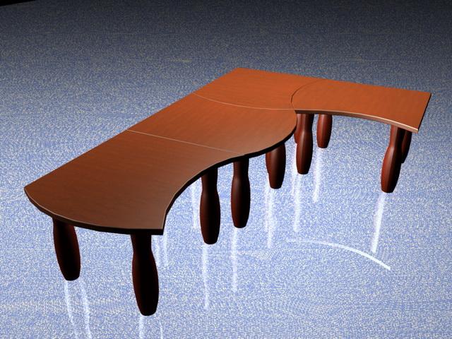 Modular coffee tables design 3d rendering