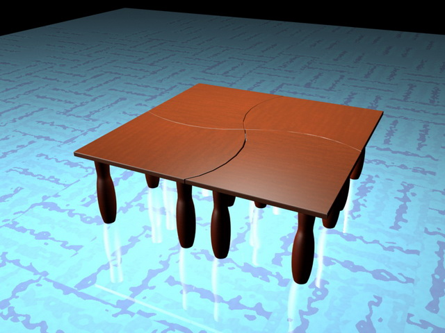Square modular coffee tables 3d rendering