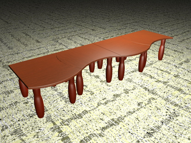 Extra long modular coffee tables 3d rendering
