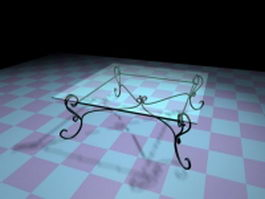 Iron and glass coffee table 3d preview