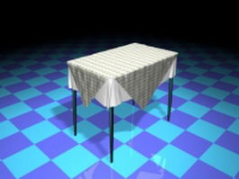 Dining room table with tablecloth 3d preview