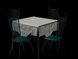 5 Piece metal dining sets 3d preview