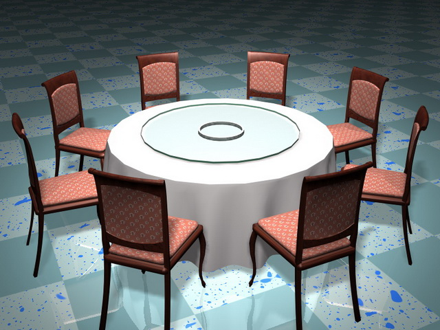 Round banquet table and chairs 3d rendering