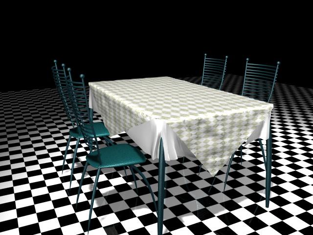 Metal dining room sets 3d rendering