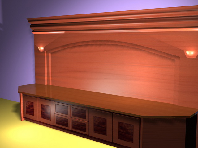 Office counter and cabinets 3d rendering