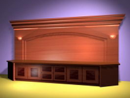 Office counter and cabinets 3d preview