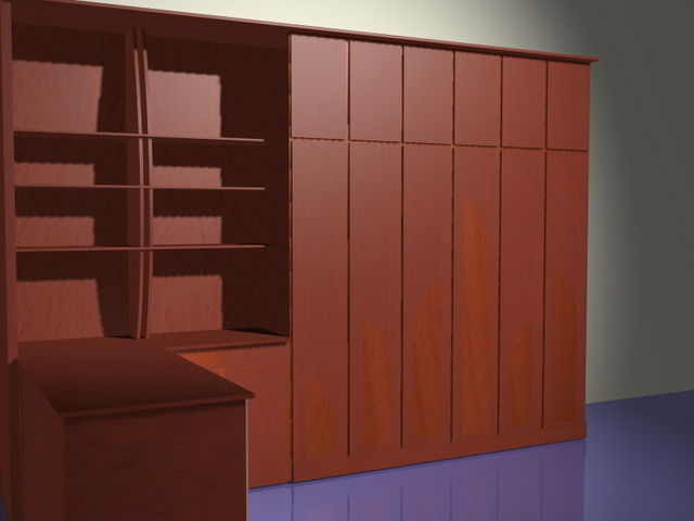 Office wall storage systems 3d rendering