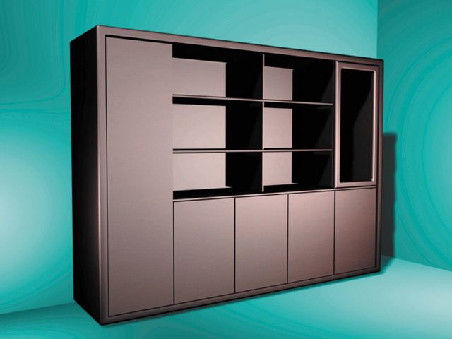 Bookcases with doors 3d rendering