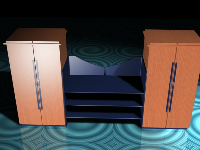 Office wall units with shelves 3d rendering