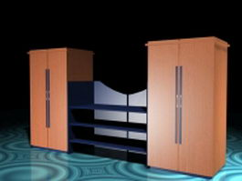 Office wall units with shelves 3d preview