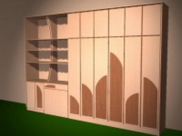 Bedroom wall storage systems 3d preview