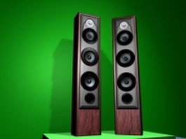 Digital Hi-Fi floor standing speakers 3d model preview
