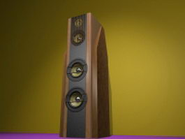 Vintage stereo speaker 3d model preview