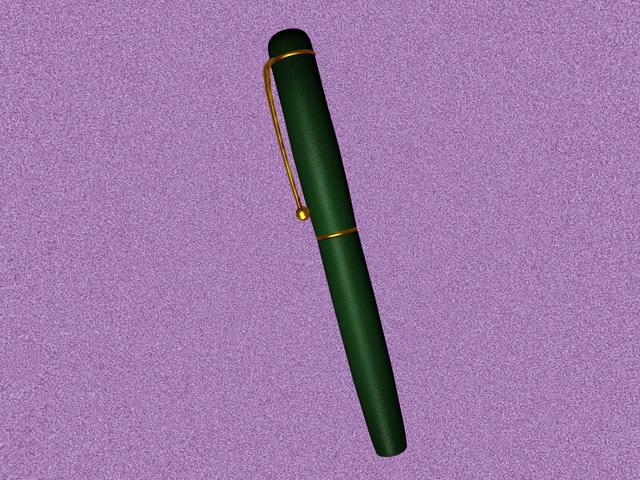 Green ink pen 3d rendering