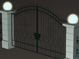 Wrought iron gate and fence 3d preview