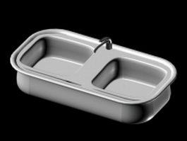 Double bowls kitchen sink 3d model preview
