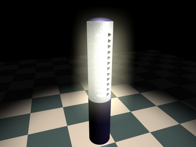 Solar powered lawn lamp 3d rendering