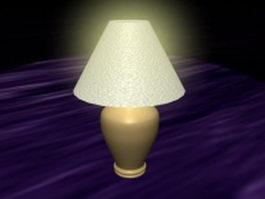 Cream colored ceramic table lamp 3d model preview