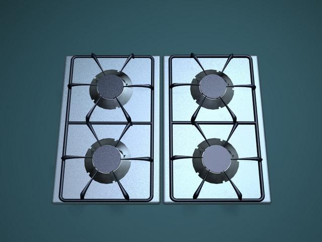 Four burner gas stove top 3d rendering