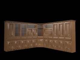 L shaped wall unit 3d preview