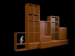 Curio display shelves 3d model preview