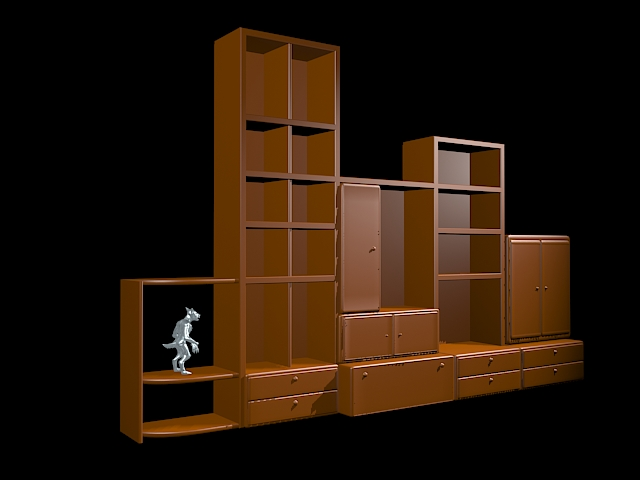 Curio display shelves 3d rendering