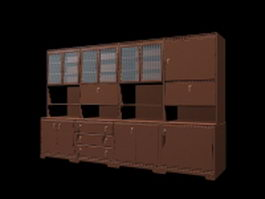 Office wall storage unit 3d preview