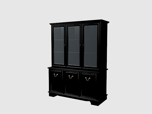 Black bookcase 3d rendering