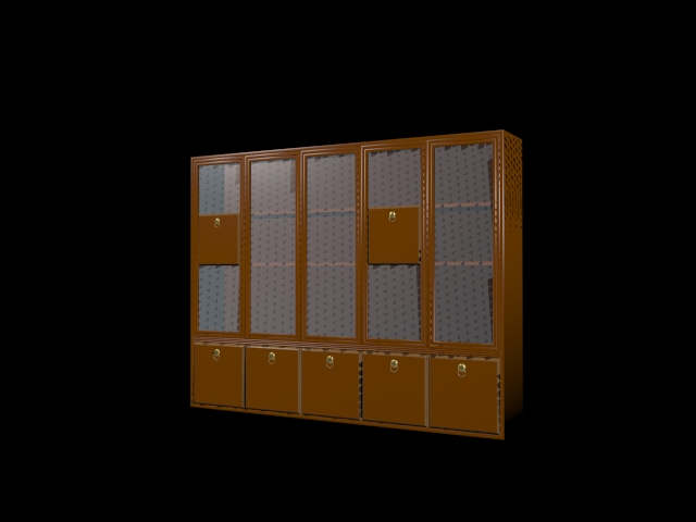Bookcase with glass doors 3d rendering