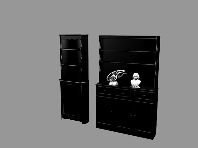 Black bookcase with doors 3d rendering