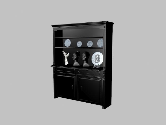 Black display cabinet 3d rendering