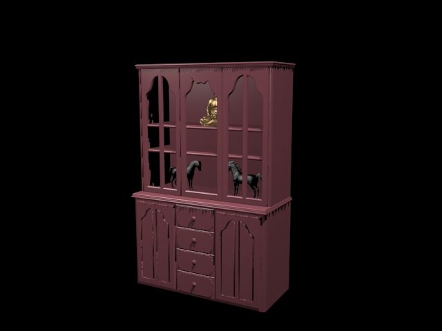 Curio display cabinet 3d rendering
