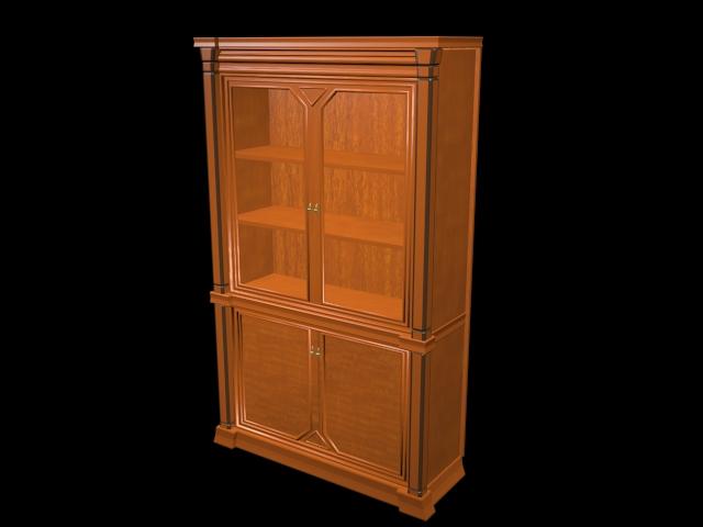 Wood display cabinet 3d rendering