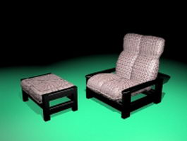Vintage recliner chair with ottoman 3d preview