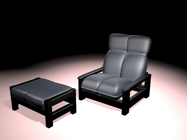 Lounge chair with ottoman 3d rendering