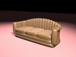 Old fashioned leather sofa 3d preview