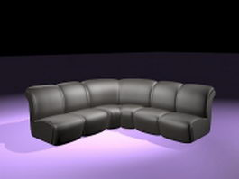 Black leather corner sofa 3d preview