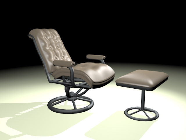 Swivel recliner with ottoman 3d rendering