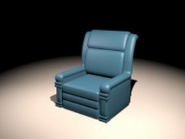 Blue recliner chair 3d preview