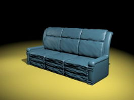 Blue leather sofa 3d preview