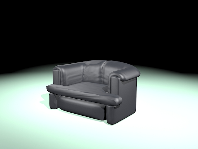 Black leather tub chair 3d rendering