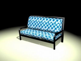 Plaid settee bench 3d preview