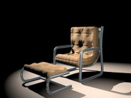 Retro reclining chair with ottoman 3d preview