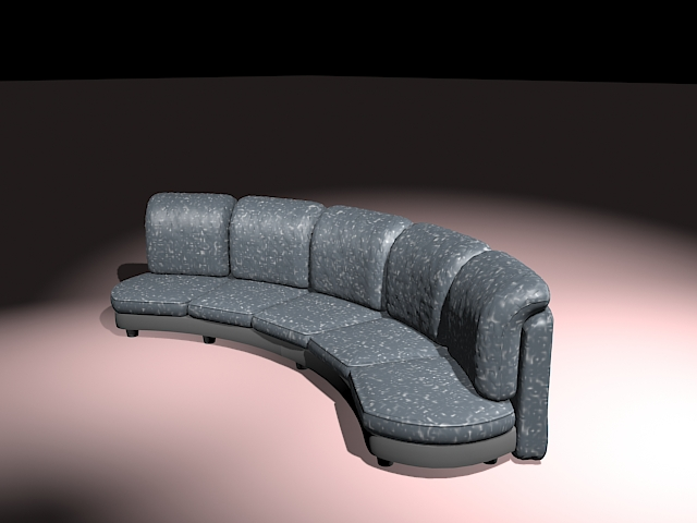 Curved sectional sofa 3d rendering