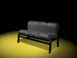 Armless upholstered settee 3d preview