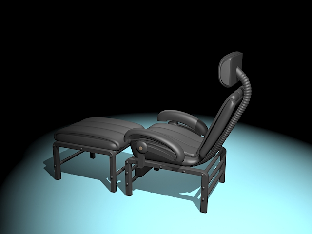 Recliner with ottoman 3d rendering